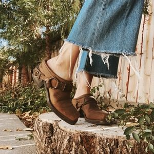 Frye Belted Harness Leather Distressed Mules